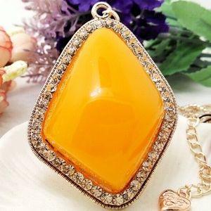 Yellow Gold Rhinestone Pendant Sweater necklace